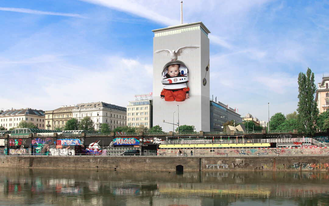 2019 Wrapping of Vienna's Ringturm Building: Future Dreaming by Daniela Kostova